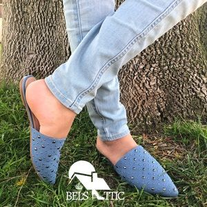 Shoes - Denim Pointed toe Studded Flat Mules